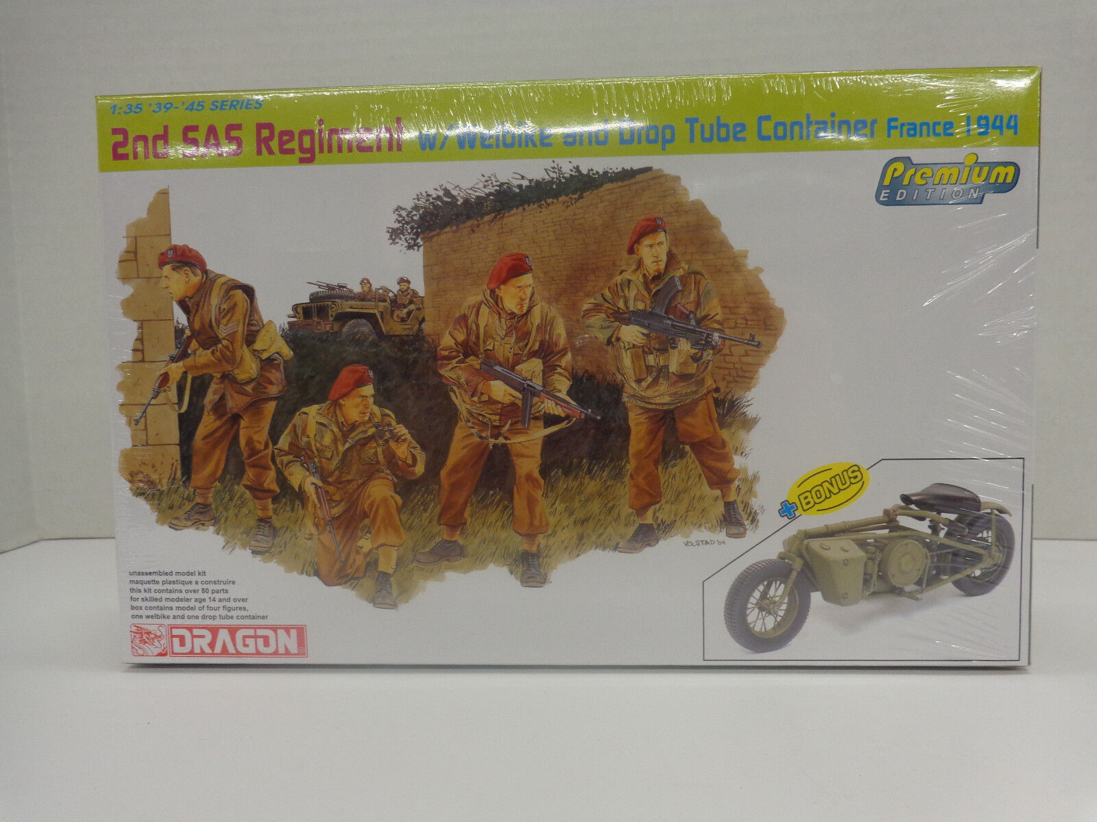 Dragon 1//35 6586 WWII British 2nd SAS Regiment w//Welbike and Drop Tube Container