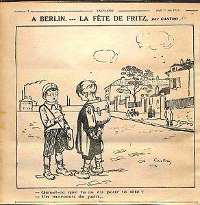 """Caricature Humour Berlin Fête de Fritz Enfants Pain Dessin Castrot WWI 1916 - France - Commentaires du vendeur : """"OCCASION"""" - France"""