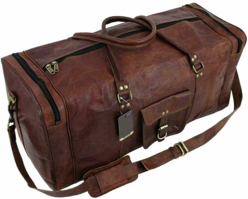 """25/"""" Vintage New Large  Men Real Leather Tote Luggage S Travel Bag Duffel Gym Bag"""