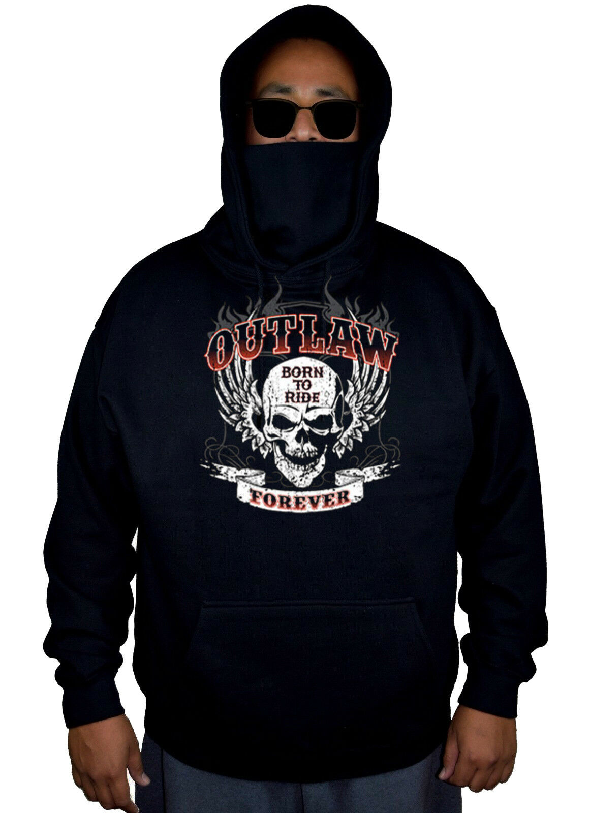 New Men's Outlaw Forever Skull Mask Hoodie Sweater Motorcycle Biker Gang Ride