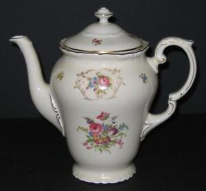 Vtg-EPIAG-COFFEE-TEA-POT-floral-w-gold-Deutschland-Czechoslovakia-Springer-amp-Co