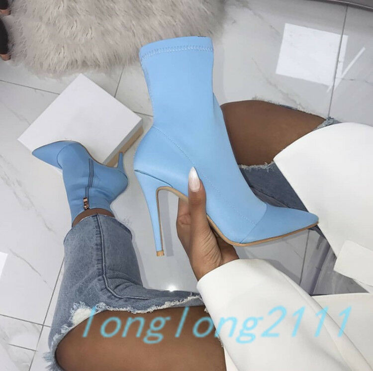 Fashion Women Stiletto Heels Mid Calf Boots Stretch Calf Leg Boots Pointed Toe