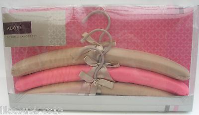 SATIN SCENTED COAT HANGERS 3 PCE SET PADDED LUXURY BOXED GIFT FEMININE FRAGRANCE