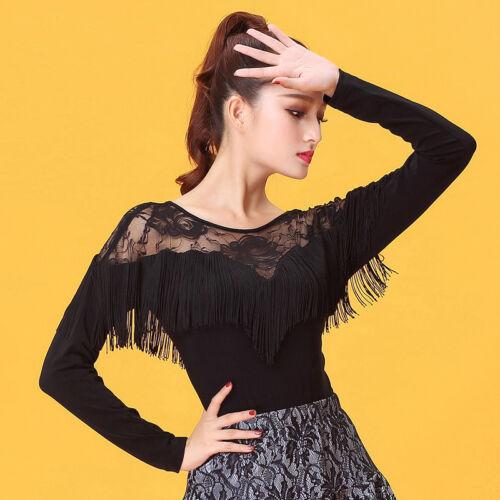 NEW Women Top for Latin salsa cha cha tango Ballroom Dance #W431  Black