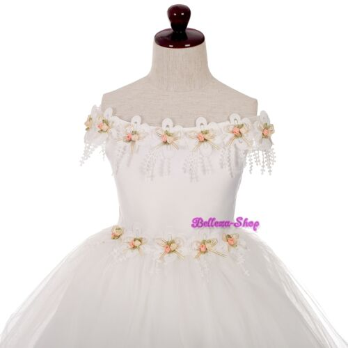 Ivory Tulle Off-Shoulder Pageant Party Wedding Flower Girl Dress Size 2-10 FG365