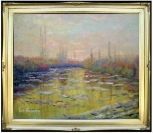 Framed-Hand-Painted-Oil-Painting-Repro-Claude-Monet-Ice-Thawing-on-Seine-20x24in