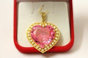 e31ced9927974 Details about 916/22ct sparkling attractive indian gold heart pendant  *Boxed*