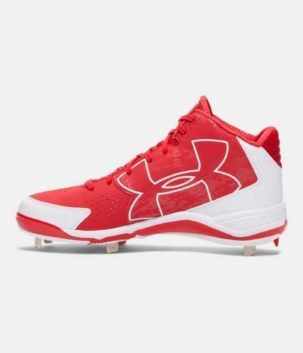 BRAND NEW UNDER ARMOUR UA IGNITE MID METAL BASEBALL CLEATS RED WHITE  SIZE 7.5