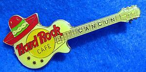 Cancun-Mexicana-Esmalte-Sombrero-Rojo-Blanco-Gibson-Guitarra-Hard-Rock-Cafe-Pin