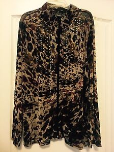 Travelers Collections Sz 16 Animal Print L/S Zip Front Jacket W/ Embellishments!