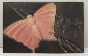 Beautiful-Butterfly-Heavily-Embossed-Airbrushed-Early-1900s-Postcard-B19