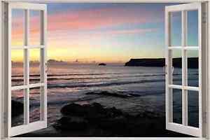 Huge-3D-Window-view-Sunset-Over-Sea-Wall-Sticker-Mural-Art-Decal-Wallpaper-1146