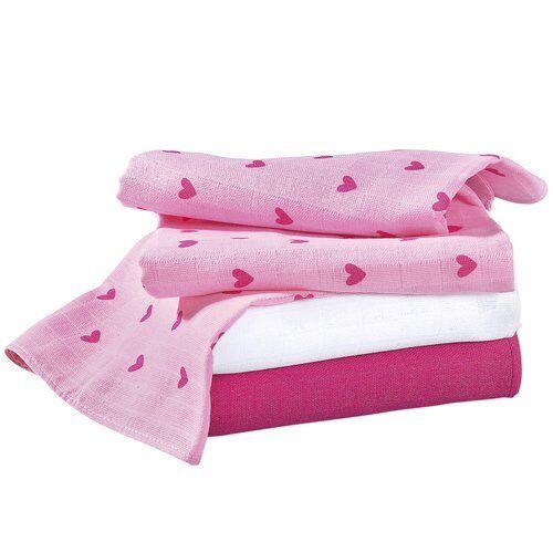 Mullwindeln Stoffwindeln Mulltücher Bornino Basics 3er-Pack Herz rosé//weiß neu