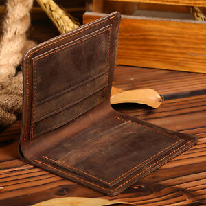 Handmade-Mens-Vintage-Handbag-Purse-Slim-Fold-Mens-Genuine-Leather-Bifold-Wallet