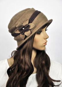 7df422f8ba M81 Brown Wool Cashmere Cute 2-Tone Flower Women's Winter Hat Cap ...