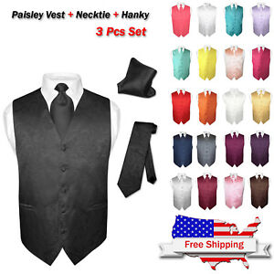Men-039-s-Dress-VEST-NeckTie-for-Suit-Tuxedo-PAISLEY-Design-Mens-Vests-Tie-Hanky-Set