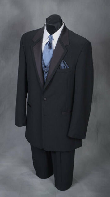 Men's - Perry Ellis Vail Black Two Button Tuxedo Coat Dinner Jacket - All Sizes