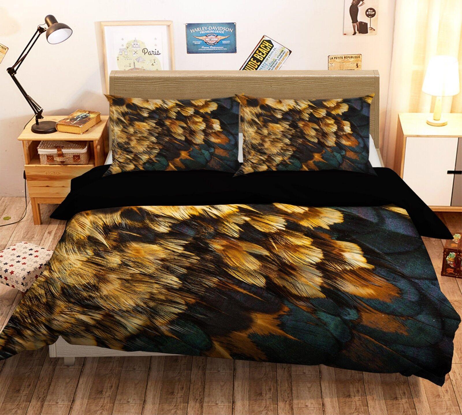 3D Feder Kunst Malerei 4 Bett Kissenbezüge steppen Duvet Decken Set Single DE