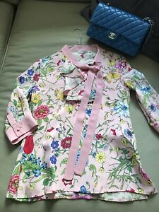 FLAVIO-CASTELLANI-silk-flower-pink-shirt-gucci-New-Without-Tag