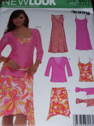 NEW LOOK #6571 2 STYLE TOP SKIRT /& BELT PATTERN 8-18FF LADIES SUMMER DRESS