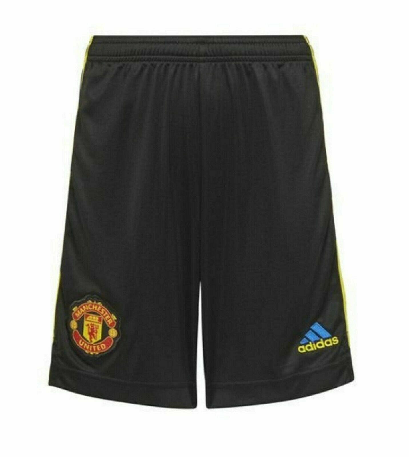 Adidas Manchester United Third Shorts 2021/22 Black/Yellow - Brand New With Tags