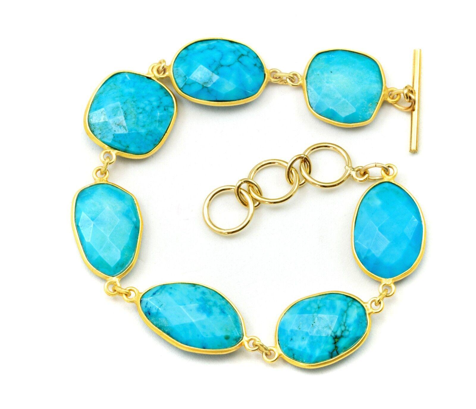 bluee Turquoise Bracelet Large Bezel Set Faceted 8 Inch Adjustable 9 Inches