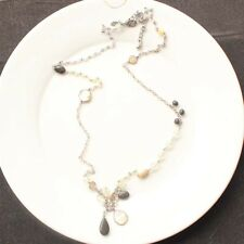 """36"""" New Chicos Shell Faux Stone Beads Long Chain Necklace Vintage Women Jewelry"""