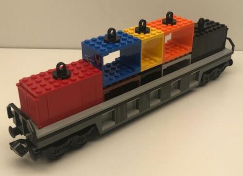 6x34 Base wheels buffers couplings magnet Custom Lego Train Gray Container Car