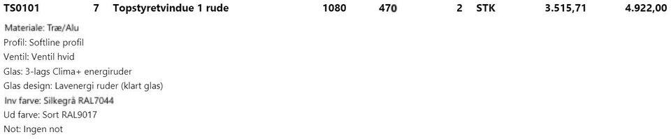 Topstyret og tophængt, træ/alu, b: 1080 h: 470