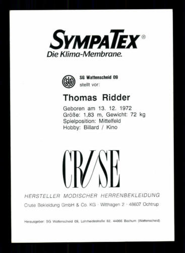 Thomas Ridder Autogrammkarte Wattenscheid 09 1993-94 Original Signiert