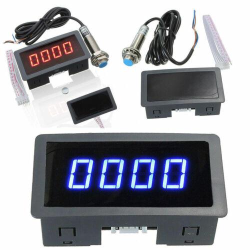 LED 4 Digital Tachometer RPM Speed Meter w// NPN Hall Proximity Switch Sensor US