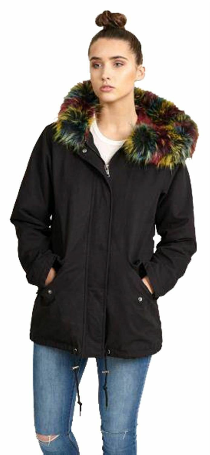 New Womens Multicolor Fur Sherpa Fleece Lined Hooded Winter Coats 8-16