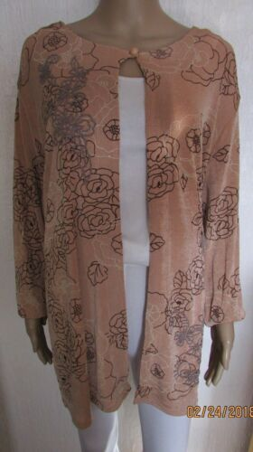 Shimmer Heather con 24 Size 26 giacca perline Nwt Plus Cardigan leggera V Gold Stunning axq47f