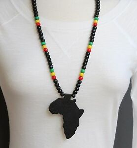 black wooden africa pendant necklace beads chain african map