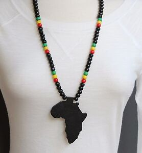 Black wooden africa pendant necklace beads chain african map image is loading black wooden africa pendant necklace beads chain african aloadofball Choice Image