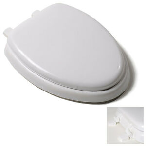 Premium White Soft Padded Elongated Toilet Seat Cushioned