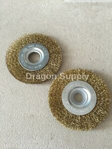 """New 4/"""" Crimped Brass Flat Wire Wheel Brush FOR Bench Grinders w 5//8/"""" Arbor"""