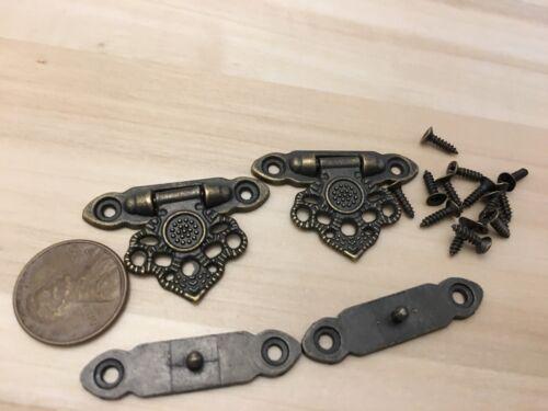 Brass 37mm x 25 Lock key Cigar Wood Box Case Latch Clasp C22 2 pieces