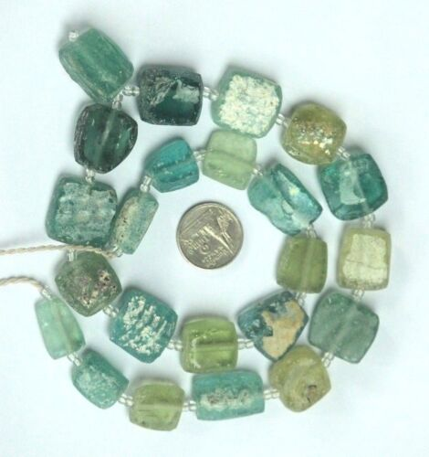 Ancient Roman Glass Old Square Beads 18th Century Necklace 19 pcs Mixed Random