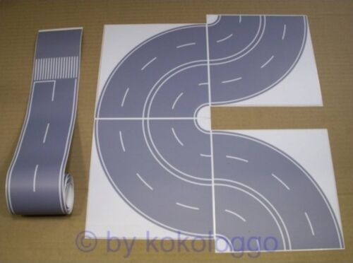 H0 Film de rue route Béton Gris 100 cm justement 8x courbe auto-adhésif dans le SET