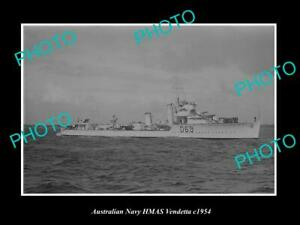 OLD-POSTCARD-SIZE-AUSTRALIAN-NAVY-PHOTO-OF-THE-HMAS-VENDETTA-SHIP-c1954