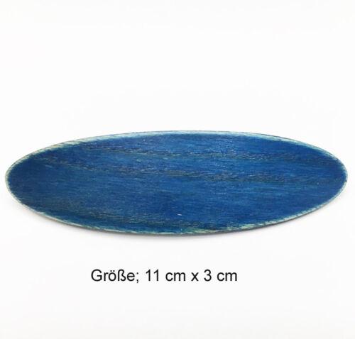 Haarspange aus Holz  Haar  Länge Spange  Barette Automat  blau jeans*