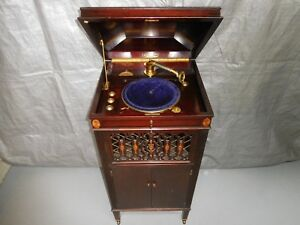 Image Is Loading Antique Sears Silvertone Hand Crank Phonograph Wood Cabinet