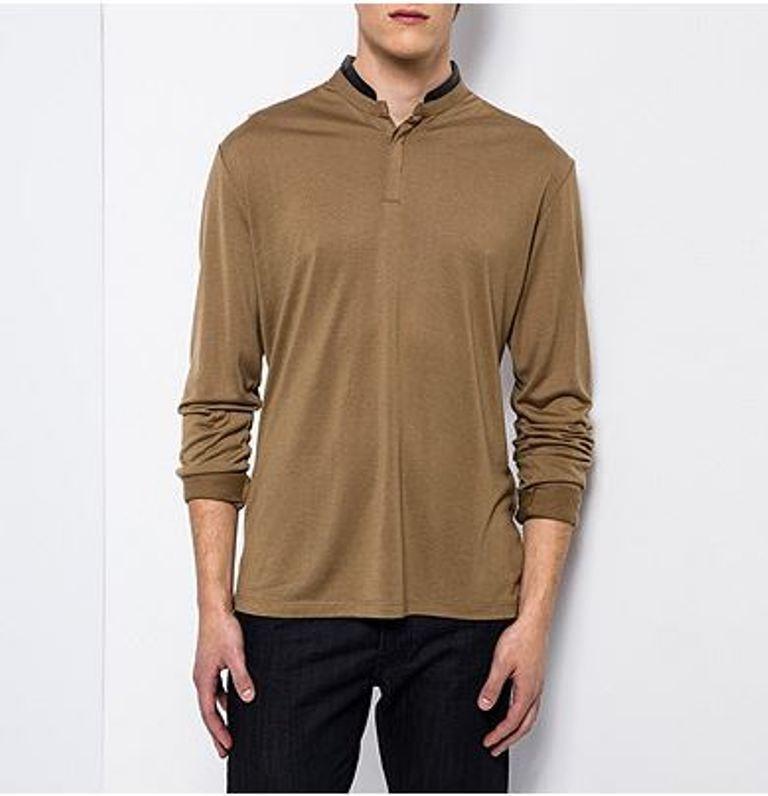 The KOOPLES - T-shirt XL tunisien marron col cuir noir  NEUF