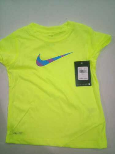 NWT Nike Toddler Girls Volt Yellow Athletic Shirts 2T~6 Various $20
