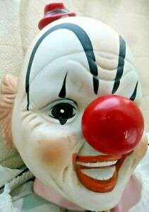 Vintage-SCARY-CLOWN-Creepy-Big-Hands-Bisque-Head-Big-Red-Nose-HALLOWEEN-PROP
