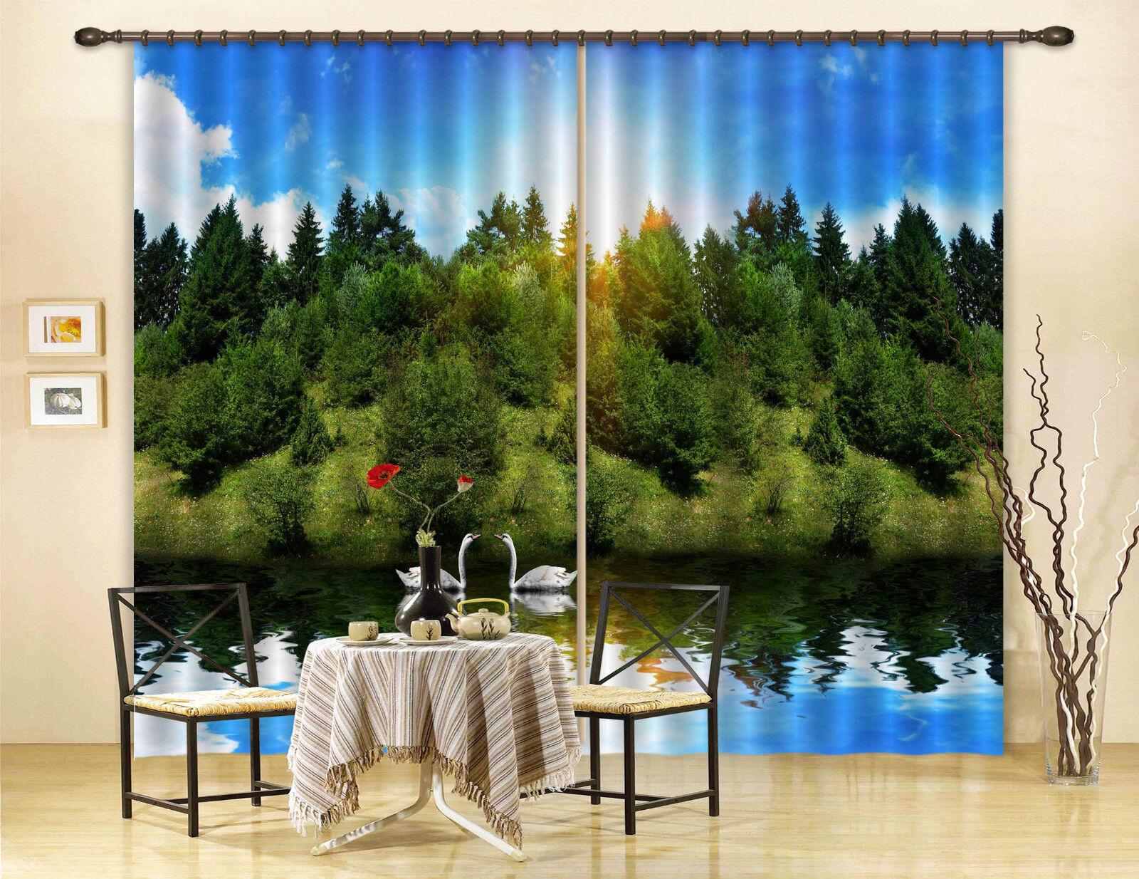 3d lago CIGNO 723 blocco foto sipario pressione sipario tende tessuto finestra de