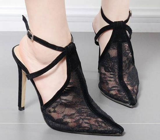 Decolte sandali tacco 11 cm eleganti stiletto noir pizzo pelle sintetica 9198