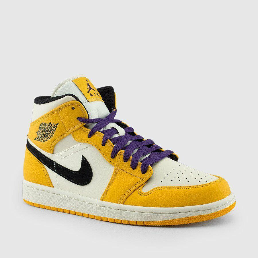 Nike Air Jordan Retro I 1 MID SE Lakers University gold Purple 852542-700 Men&GS