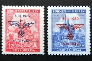 Germany-Nazi-1939-1942-Stamps-MINT-Overprint-Swastika-Eagle-Brno-Cathedral-at-Pr
